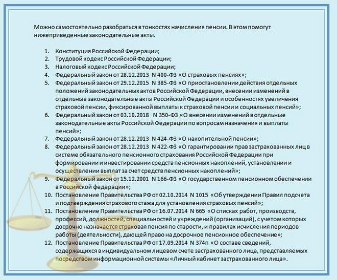 Законодательство. Документы для пенсии